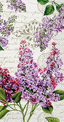Lilac Floral Vintage Script Cream 16 Count