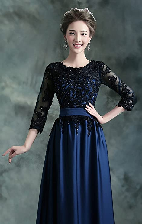 3e490bbbcf Onlybridal Unique Prom Dresses Women s Crew-Neck 3 4 Sleeve Appliques Open  Back Dresses at Amazon Women s Clothing store