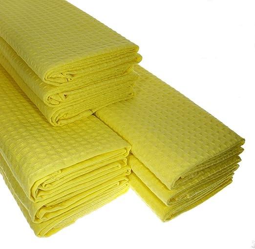 9 x paños de algodón 100% puro Suela de piqué en amarillo Paño de ...
