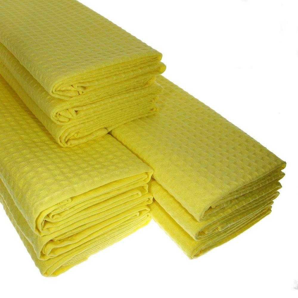 9/x Torchon 100/% pur coton piqu/é gaufr/é en jaune Torchon de cuisine