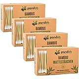 pandoo 4er Pack Bambus Wattestäbchen (800 Stück)   100% biologisch abbaubar, vegan & nachhaltig   kompostierbare premium Wattestäbchen