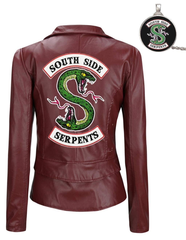 Riverdale Southside Serpents Jacke Damen Teenager M/ädchen Mode Lederjacke Coole Leder Pullover Frauen Slim Fit Sweatshirt Bauchfreier Pulli Kurz Crop Tops Oberteile Langarmshirts