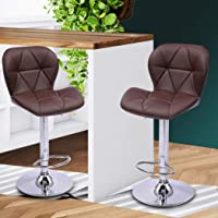Levede 2X Bar Stool Swivel Gas Lift Kitchen Leather Chair Chairs Metal Barstools