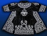 STUNNING UZBEK SILVER SILK EMBROIDERED ROBE CHAPAN FROM BUKHARA T772