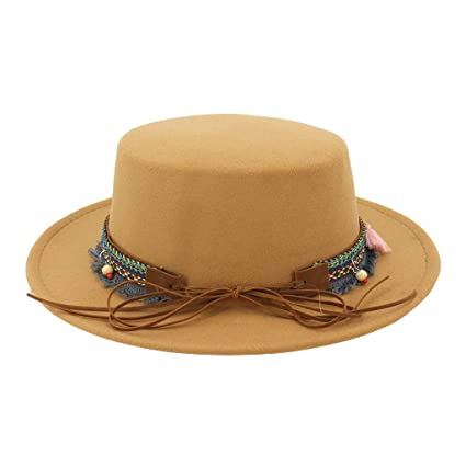 fad313c9f3a Image Unavailable. Image not available for. Color  WaiiMak Women Wide Brim  Wool Belt Felt Flat Top Fedora Hat Party Church Trilby Hats Cap