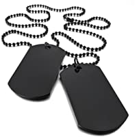 SODIAL 2 PCS Alloy Pendant Necklace Pendant Black Double Dog Tag plate Army Tribal Style Chain Necklace Man, Woman