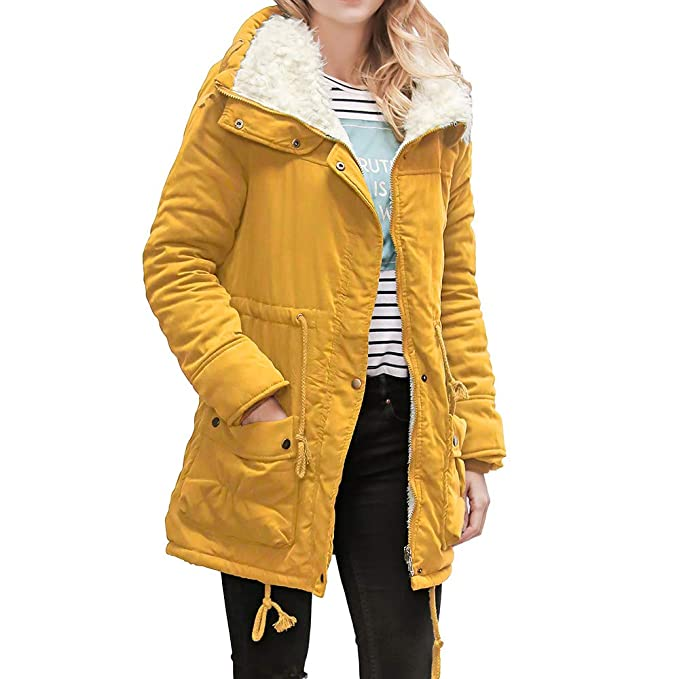 Amazon.com: DMZing Women Parka Sweatshirt Tops Long Coat Outerwear Jacket Collar Hooded Casual Fashion Pocket Slim Solid (Yellow, M): Kitchen & Dining