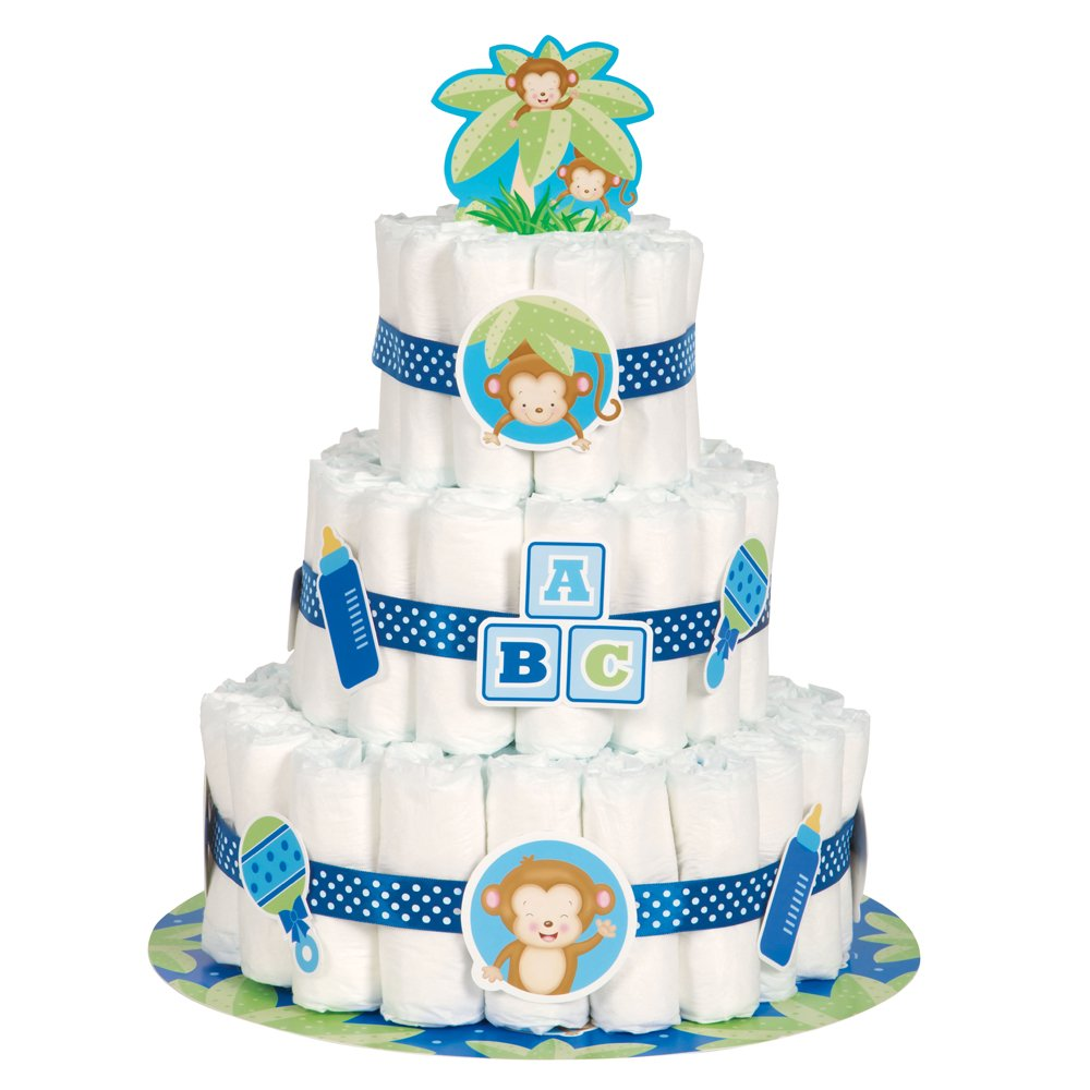 Com Boy Monkey Baby Shower Diaper Cake Kit 25pc Kitchen Dining