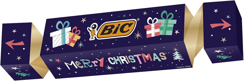 BIC Cracker de Navidad – Kit de regalo de papelería con 43 bolígrafos, 3 rotuladores y 10 pegatinas
