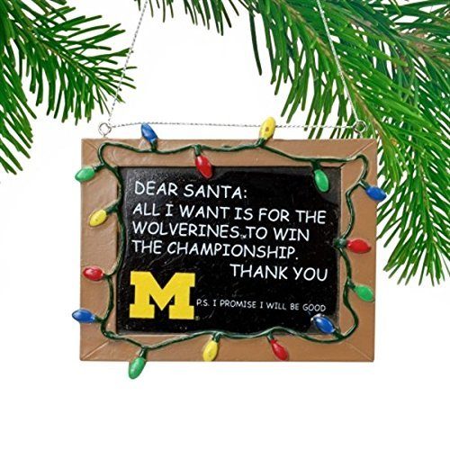 NCAA College Resin Chalkboard Sign Christmas Ornament Michigan Wolverines