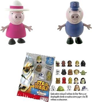 Lote 2 Figuras Comansi Abuelos Peppa Pig - Abuela Pig - Abuelo Pig + Regalo: Amazon.es: Juguetes y juegos