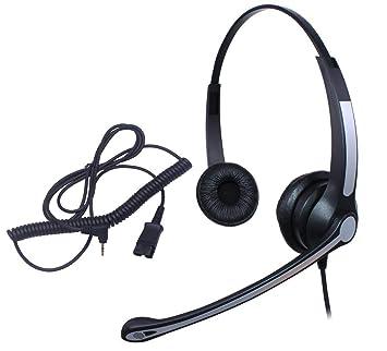 Ymate - Auriculares de diadema con micrófono y desconexión rápida para teléfono Panasonic KX-NT136