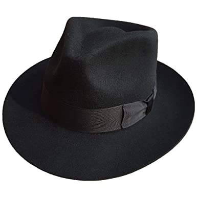 247567d125652 MJ Michael Jackson Billie Jean with Name Black Fedora Wool Hat Trilby  Collection (S)