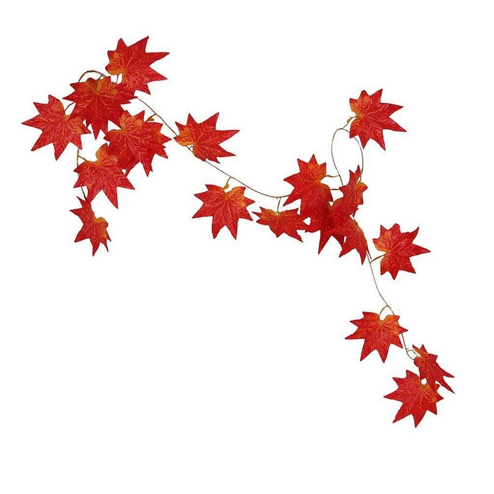 Aerobin Maple Leaf Vines, 1pc Artificial Maple Leaves Garland Fake Autumn Leaf Vine for Autumn Display Wreath Decoration Fireplace Photography Prop