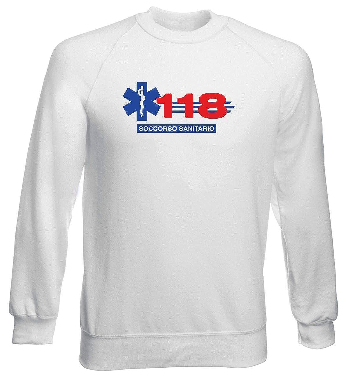 Speed Shirt Felpa Girocollo Uomo Bianca TM0601 118 Soccorso Sanitario
