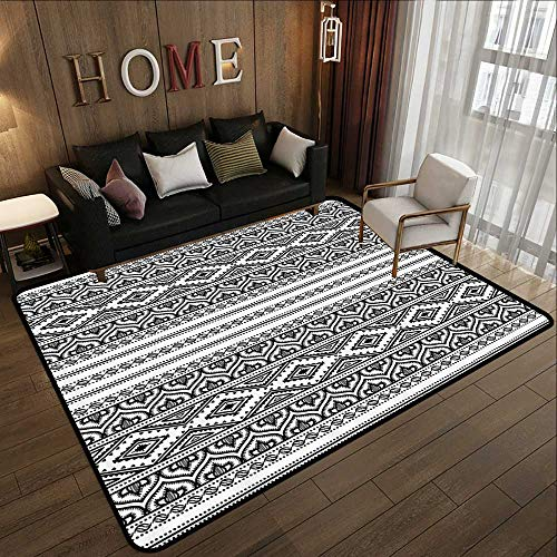 Carpet mat,Ethnic,Oriental Tribal Moroccan Round Style Lines Dots Geometric Shapes Artwork Image,Black and White 71