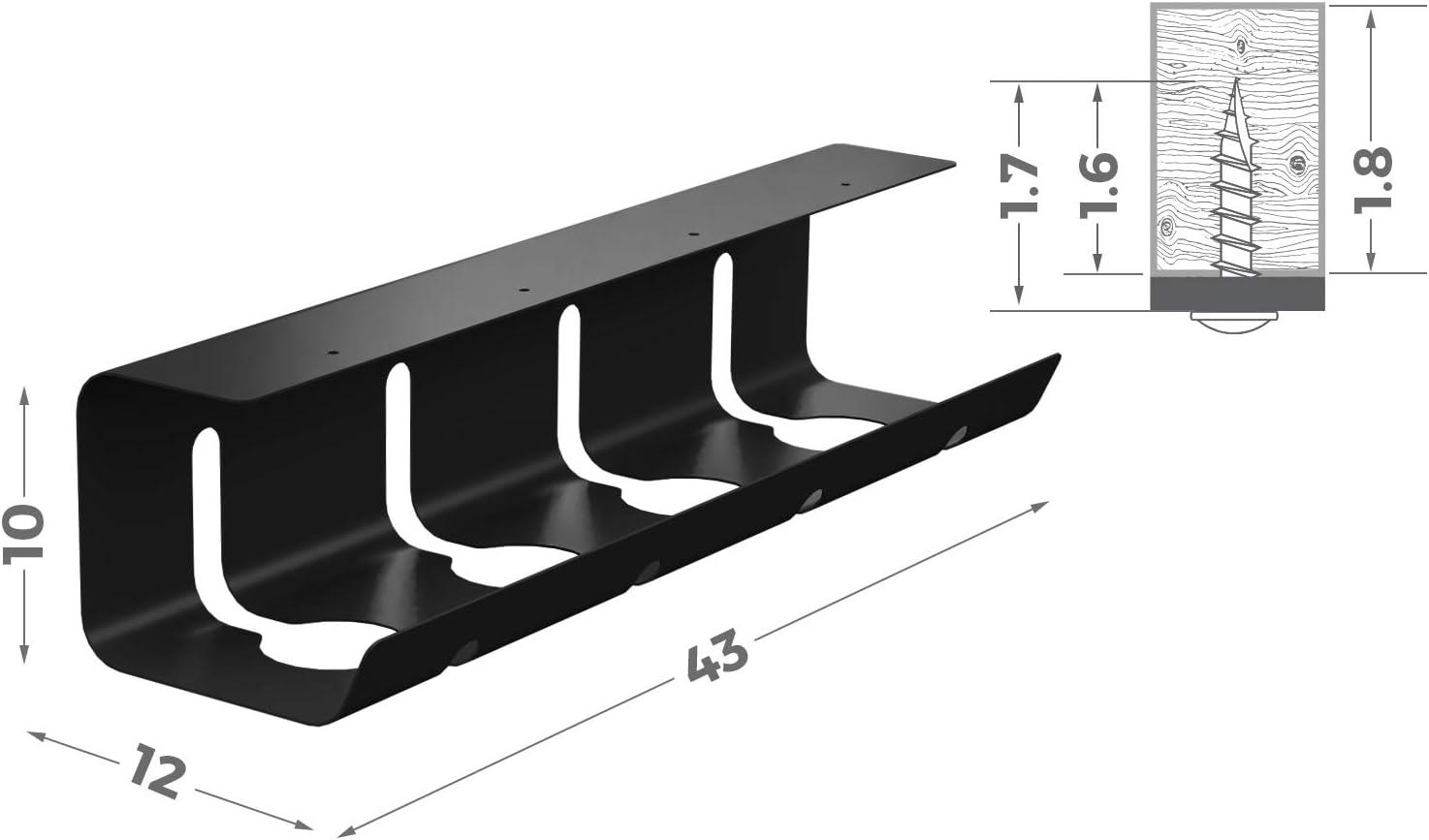 Kabelkanal Schreibtisch f/ür Ordnung am Arbeitsplatz Kabelkanal schwarz 43 x 12 x 10 cm Kabelhalter Kabelwanne Tisch Kabelmanagement Schreibtisch