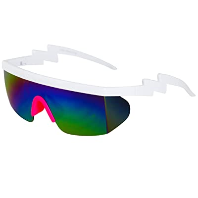 Semi Rimless Goggle Style Retro Rainbow Mirrored Lens, Rainbow Pink, Size Large: Shoes