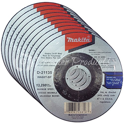 Makita 10 Pack - 4 1 2 Cutting Wheels For Grinders - Flush Cutting For Metal & Stainless Steel/INOX - 4-1/2