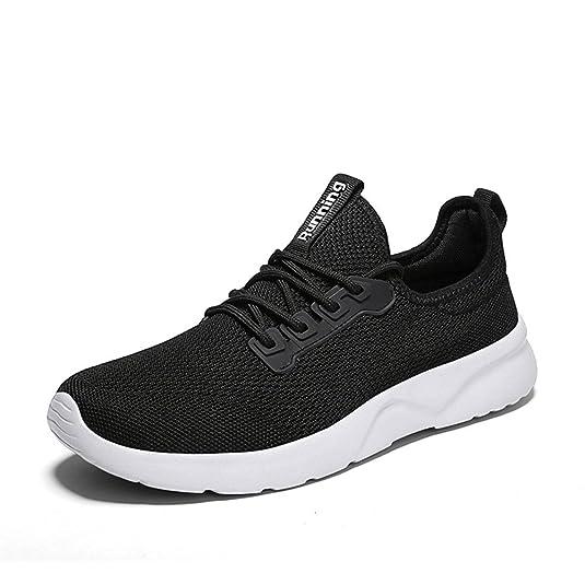 ZOCAVIA Damen Herren Laufschuhe Sportschuhe Leicht Sneakers Atmungsaktive Turnschuhe Schnürer Schwarz-Weiß 39 EU eo8y7H