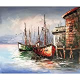 Original Oil Painting Painted by Hand Abstract Oil painting Sea view Boat 100% Hand-Painted On Canvas Abstract Artwork (24x20 Inch)