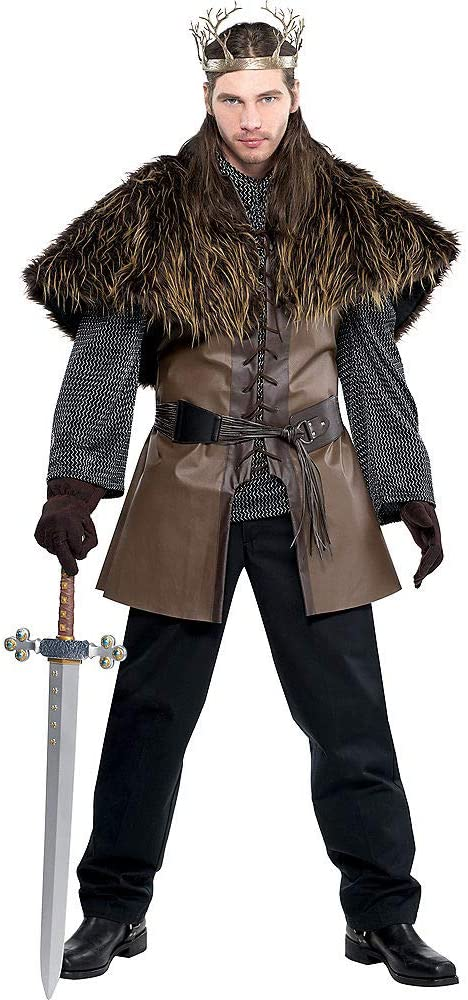 Amscan Chain Mail Tunic and Hood Costume One Size Multicolor 3 Piece