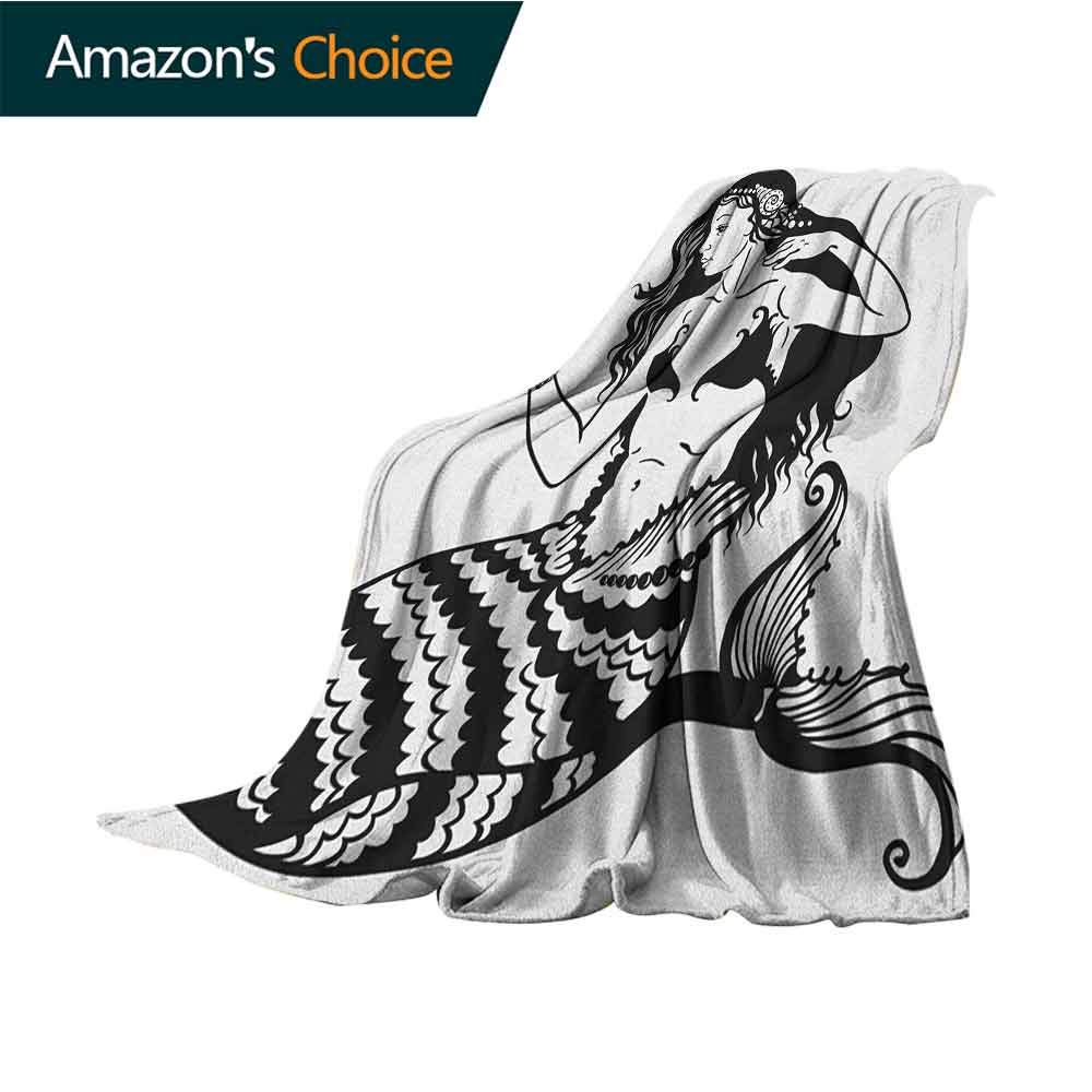 Underwater Mother Blanket,Mermaid Mythological Young Girl with Fish Tail Monochrome Classic Style Art Indoor/Outdoor,Comfortable for All Seasons,50'' Wx60 L Black White