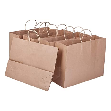 BENECREAT 8 Pack Bolsas de Regalo de Papel Kraft con Asas Compras, Mercancía,, Fiesta, Boda, Papel 100% Reciclado Marrón Natural