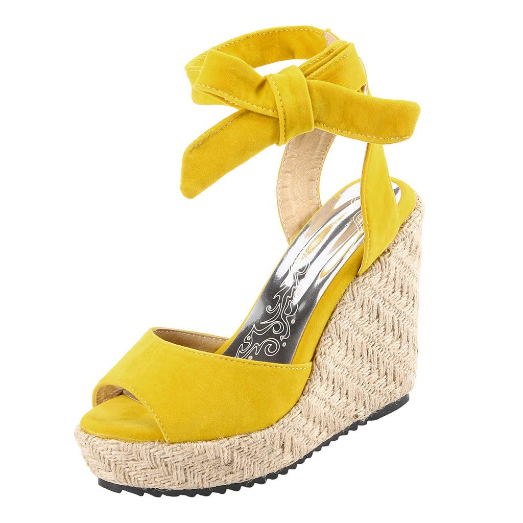 Womens Lace up Platform Wedges Sandals Classic Open Toe Ankle Strap Shoes Espadrille Sandals Yellow by sweetnice Women Shoes