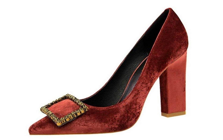 High Heels Sandalen Chunky Heel 9 cm Plattform Komfort Königin Schwangere Frau Damen Mädchen Party Tanzen Feminine Schuhe, Rot, EU40 (Farbe   -, Größe   -)