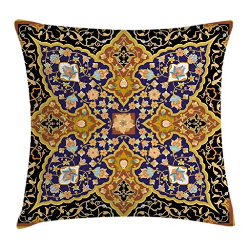 """Ambesonne Orient Throw Pillow Cushion Cover, Floral Mosaic Patterns South Eastern Antique Oriental Ottoman Artwork Print, Decorative Square Accent Pillow Case, 24"""" X 24"""", Yellow Black"""