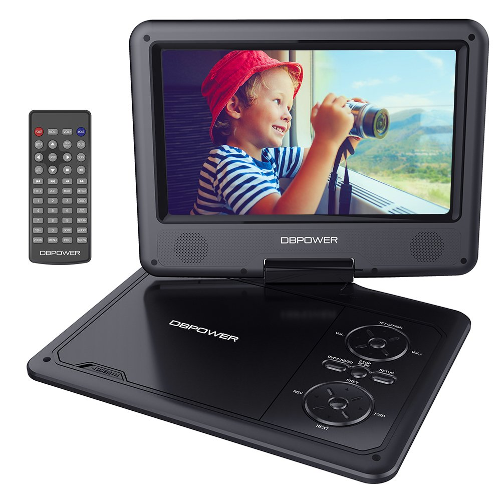 DBPOWER 9.5'' Portable DVD Player with Swivel Screen, 5-Hour Built-in Rechargeable Battery, Support CD/DVD/SD Card/USB, with Car Charger and Power Adaptor (Black)