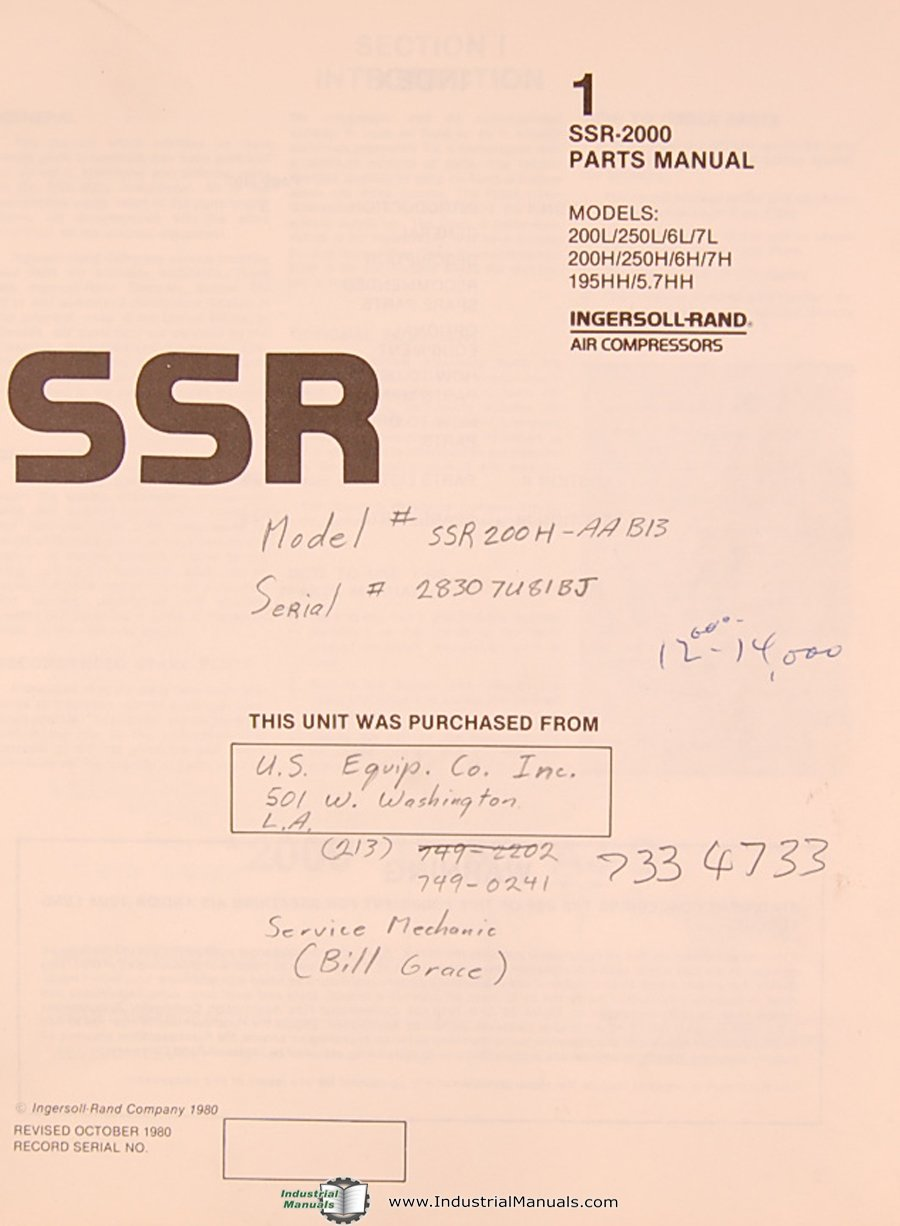 Ingersoll Rand SSR 2000, Air Compressor, Parts List Manual: Ingersoll Rand:  Amazon.com: Books