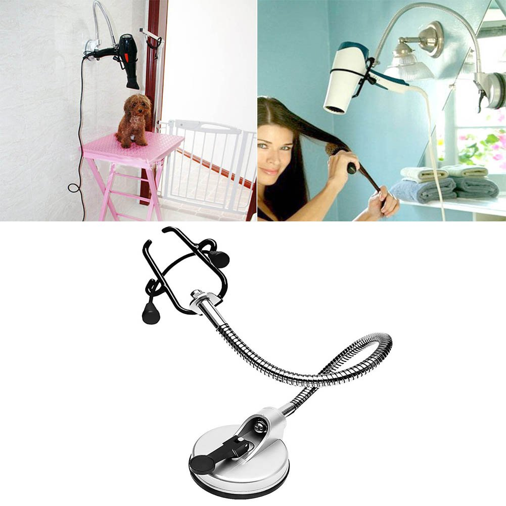 KELYNN Hands Free Hair Dryer Holder Wall Mount Stainless Drying Styling Stand 360 Degrees Rotation Hairdryer Dryer Rack