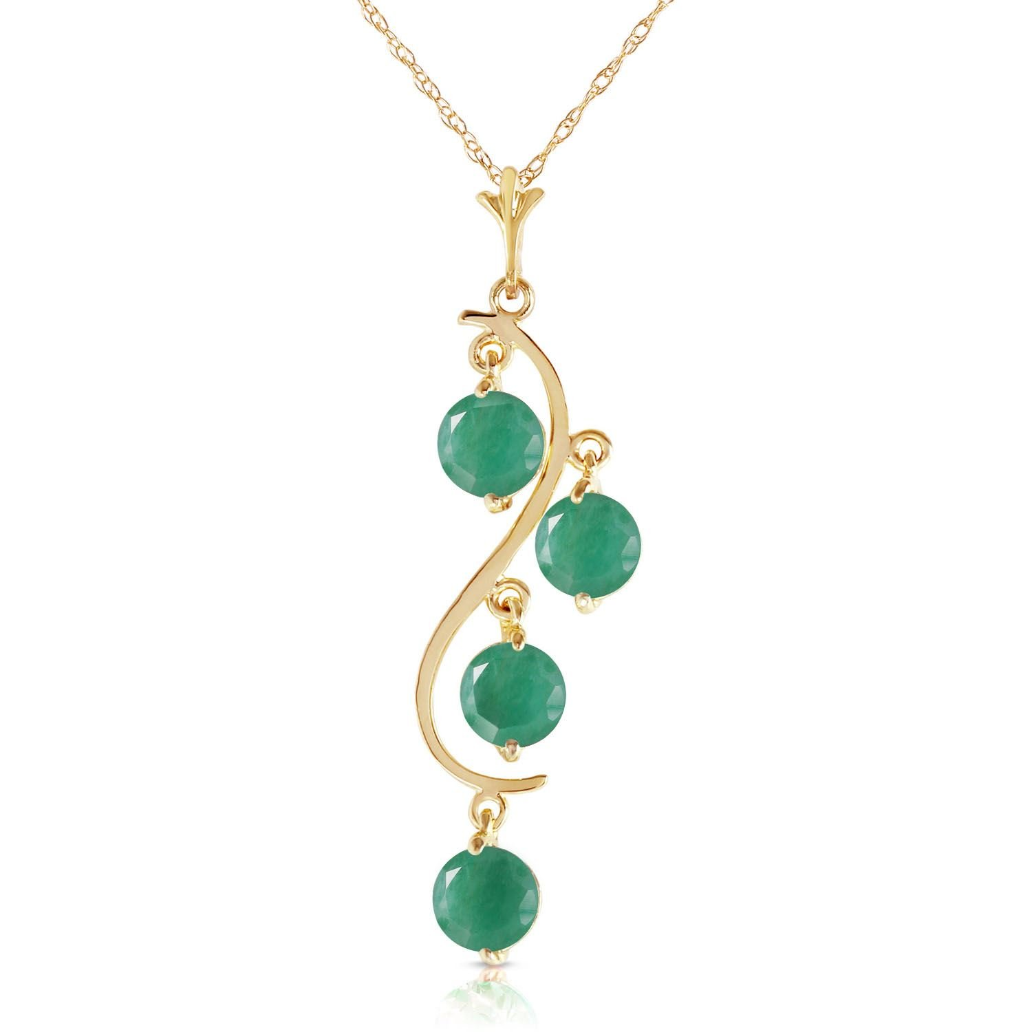 ALARRI 2 Carat 14K Solid Gold House Of Love Emerald Necklace with 18 Inch Chain Length