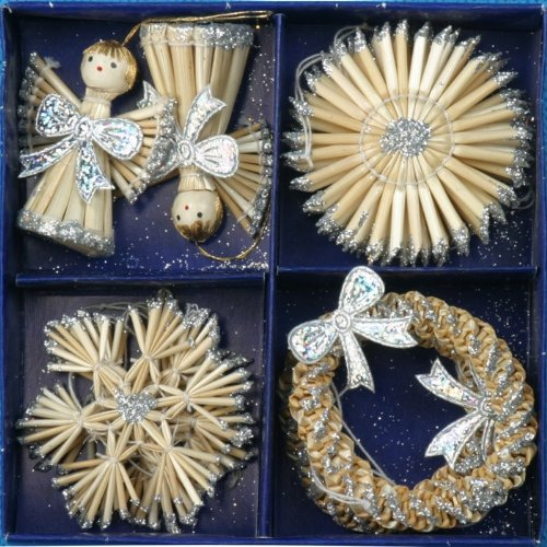 Traditional Wooden And Straw Christmas Ornaments