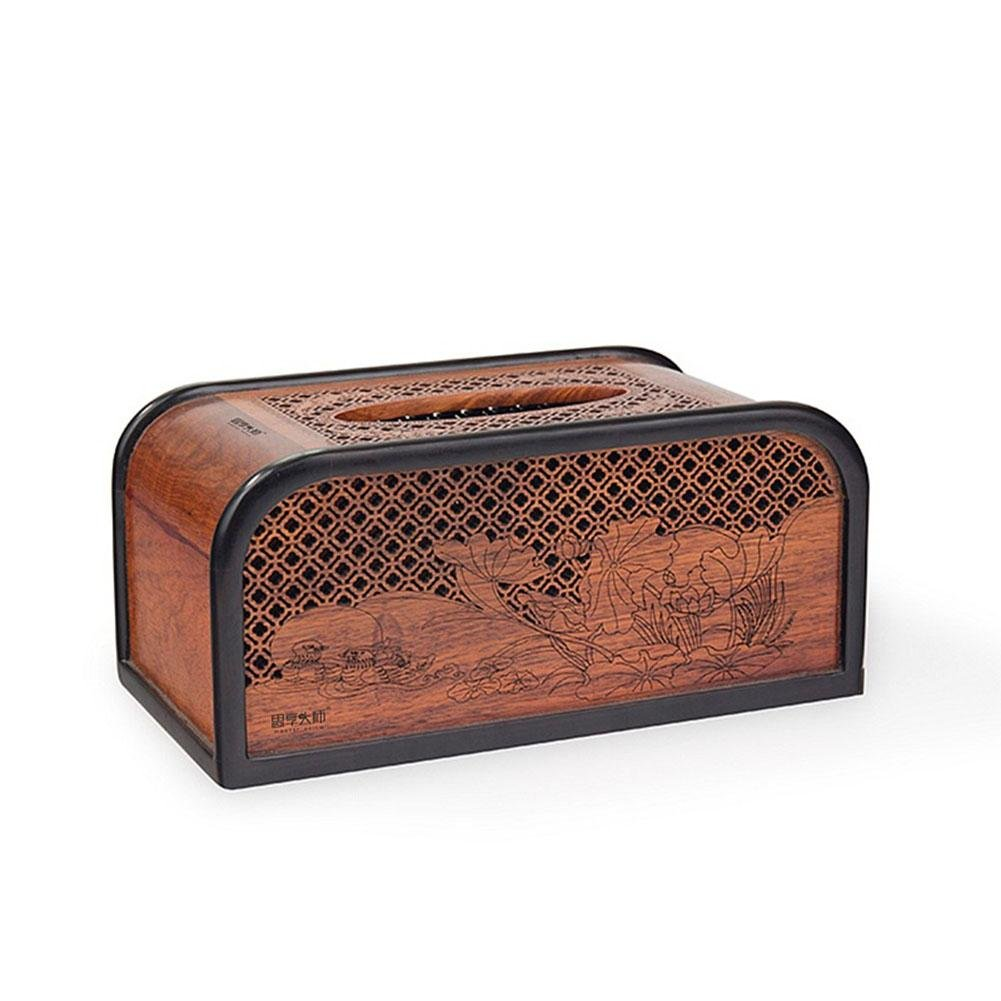 Creative Sandalwood Wooden Tissue Box Holder Cover for Home Office Car Decor