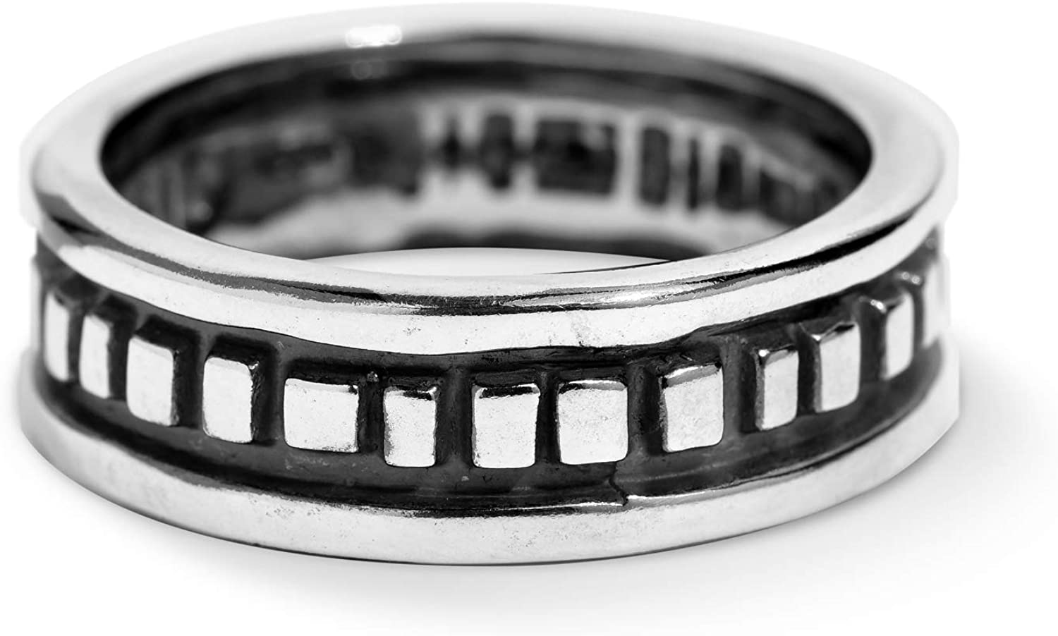 American West Sterling Silver Rectangular Bead Band Ring Size 5 to 13