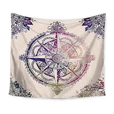 Ecomic Indian Bohemian Purple Compass Old-Fashioned Design Tapestry Throw, Wall Hanging Tapestries, Hanging wall decor, Beach Throw, Table Runner/Cloth (Indian Design Throw Rugs)