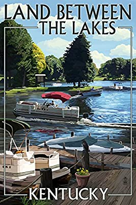 Land Between the Lakes, Kentucky - Pontoon Boats (12x18 Fine Art Print, Home Wall Decor Artwork Poster)