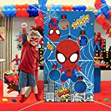 PANTIDE Spiderman Toss Game Banner with 4 Bean Bags, Fun Indoor Outdoor Party Game Activities for Kids and Adults, Avengers Superhero Themed Throwing Games Birthday Party Decoration Supplies Set