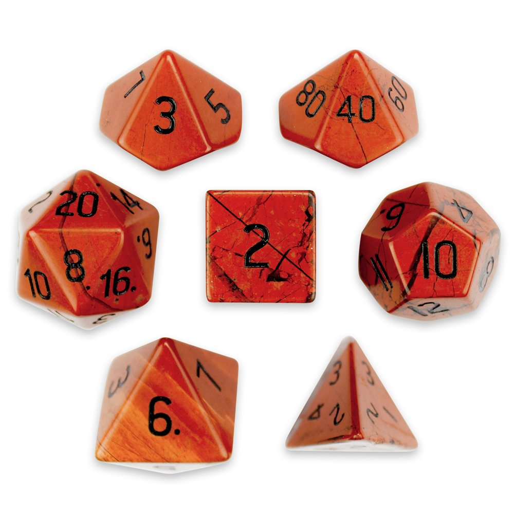 Set of 7 Premium Handmade Stone Polyhedral Wiz Dice - Choose From 12 Types! (RED JASPER)