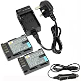 DSTE® 2x DMW-BLF19E Rechargeable Li-ion Battery + DC141U Travel and Car Charger Adapter for Panasonic Lumix DMC-GH3 DMC-GH3A DMC-GH3AGK DMC-GH3GK DMC-GH3H DMC-GH3HGK DMC-GH3KBODY DMC-GH4H DMC-GH4 Camera