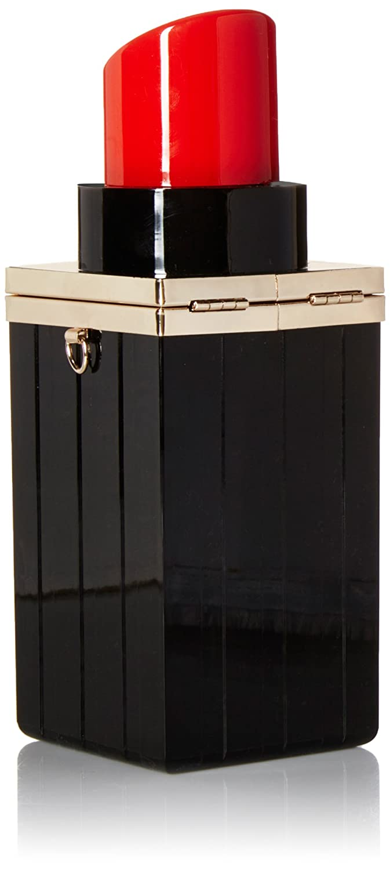 Bestmaple Women Acrylic Black Lipstick Shape Evening Bags Purses Clutch Vintage Banquet Handbag