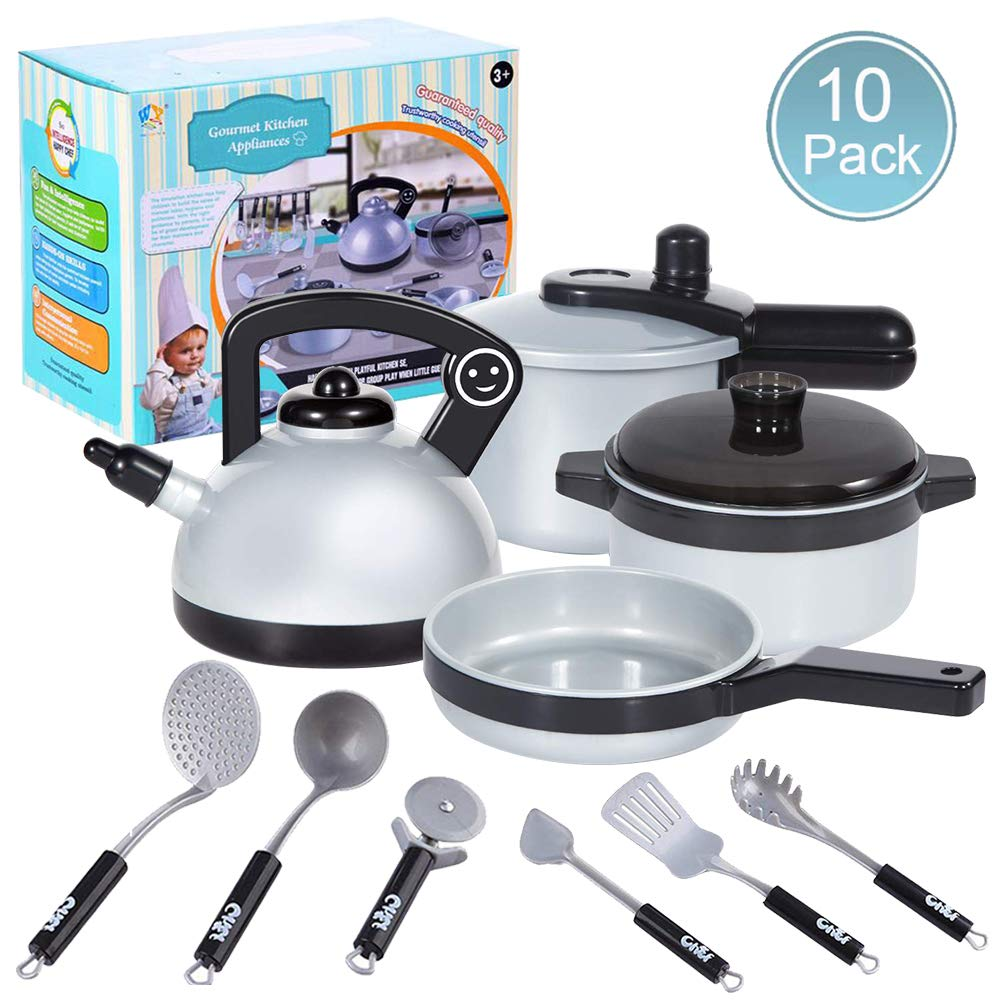 10-Piece Set ZGWJ Pretend Play Kitchen Set for Kids,10 Piece Kids Cookware Playset Development Educational Toy Include Pots,Pans and Utensils for Kids