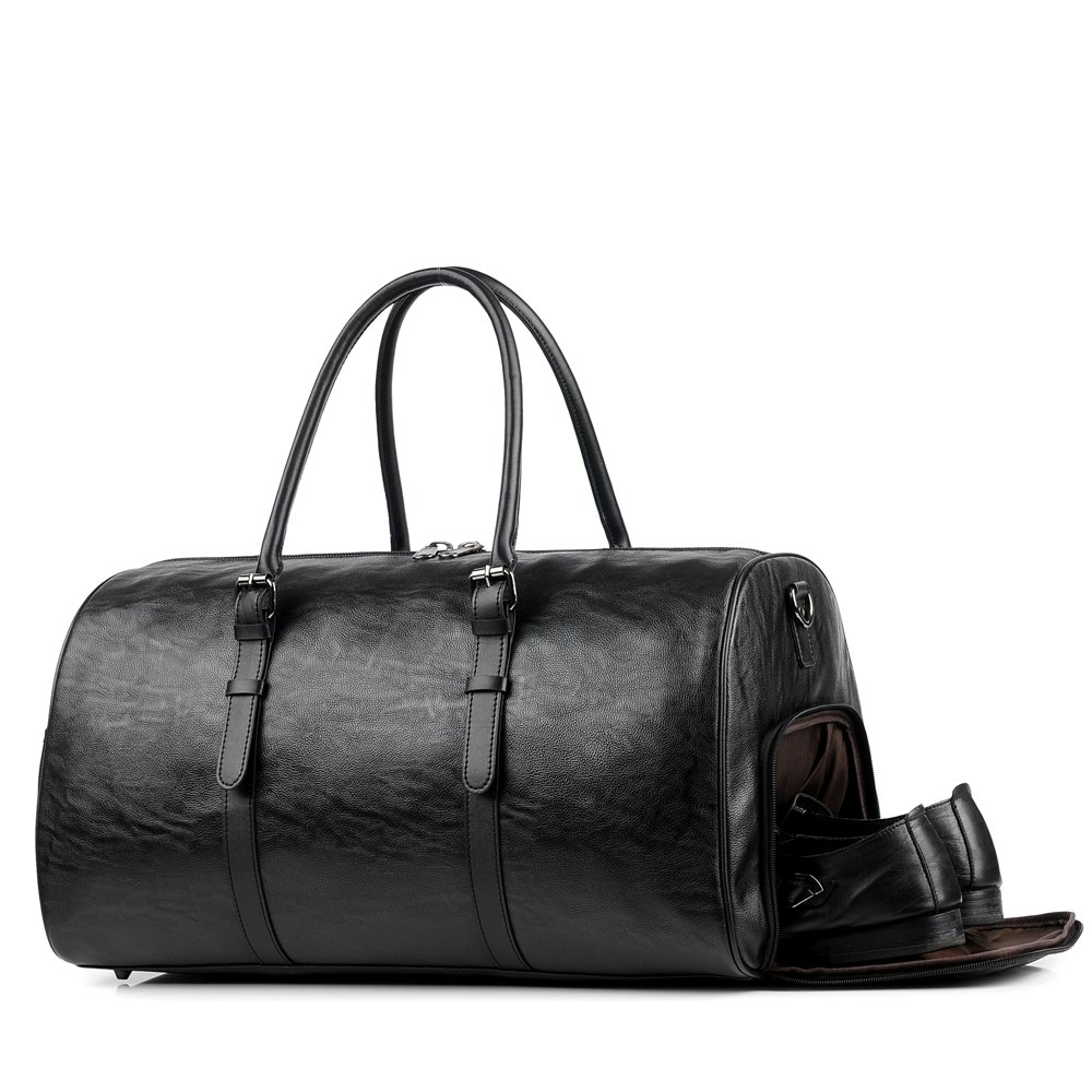 Gym Bag For Men Leather Travel Weekender Overnight Duffel Bag Gym Sports Luggage Tote For Men & Women (large black)