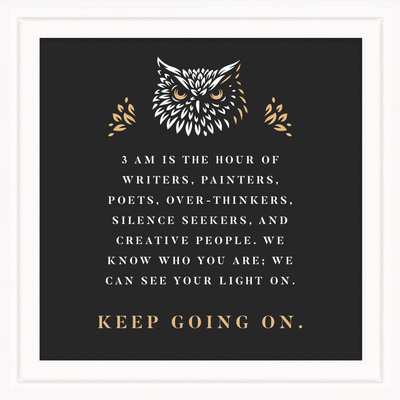Owl Sign Decor | Positive Message Wall Art | Owls Motivational Artwork Plaque | Framed Inspiring Prints | Cute Quote Picture Decorations | Owl Lovers Gift Ideas