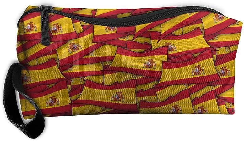 Estuche de collage con bandera de España, bolsa de aseo, bolsa de lona, organizador de viaje, estudiantes, papelería, gran capacidad con cremallera: Amazon.es: Hogar