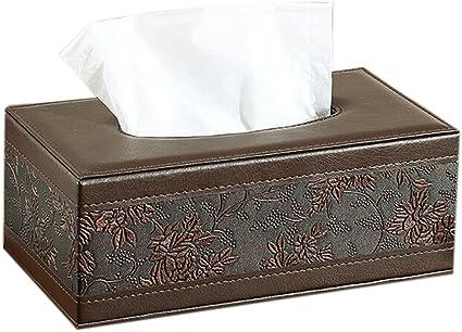 Lumanuby 1x Retro Blume Tissue Holder Rectanglar Pu Leather Facial Tissue Paper Holder Für Home Office Car Automotive Dekoration Size 25 5 14 9 5cm Küche Haushalt
