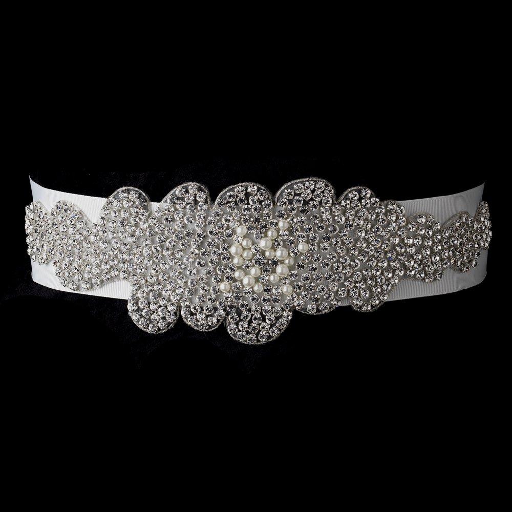 Glamour Pearl & Rhinestone Glitz Wedding Bridal Sash Belt - White